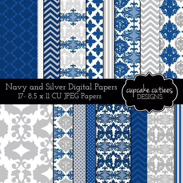 Navy Silver Paper Pack  Cupcake Cutiees    Mygrafico