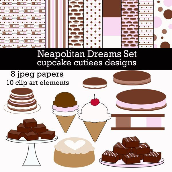 Neapolitan Dessert Clipart and Papers  Cupcake Cutiees    Mygrafico