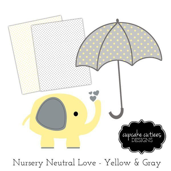 Nursery Love- Yellow Clipart and Digital Paper Pack  Cupcake Cutiees    Mygrafico