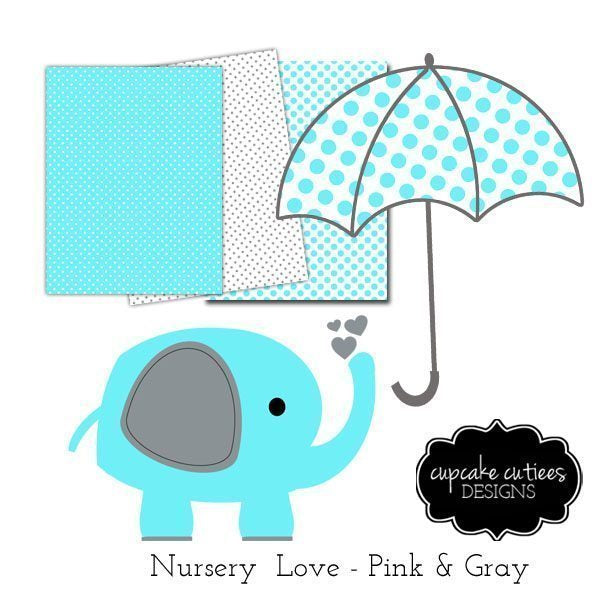 Nursery Love Blue- Paper and Single Clip Art Set  Cupcake Cutiees    Mygrafico