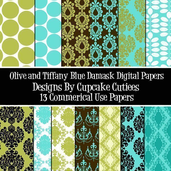 Olive Tiffany Damask Paper Set of 13  Cupcake Cutiees    Mygrafico