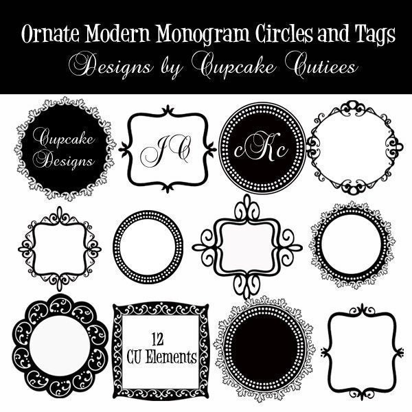 Ornate Monogram Tags  Cupcake Cutiees    Mygrafico