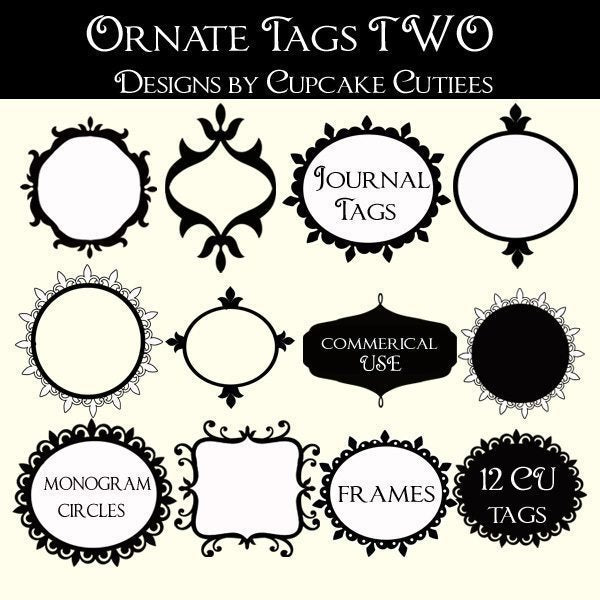 Ornate Tags Two  Cupcake Cutiees    Mygrafico