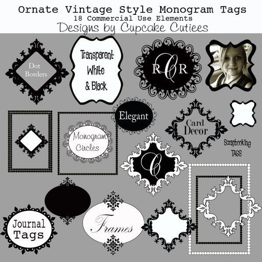 Ornate Vintage Frames and Tags  Cupcake Cutiees    Mygrafico