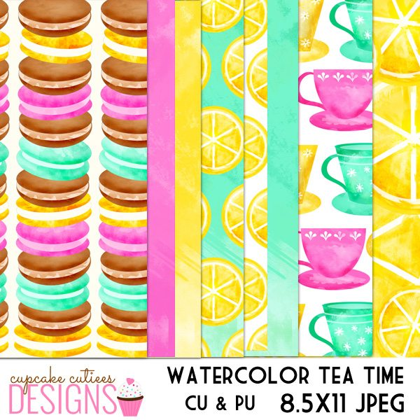 Watercolor Tea Party Digital Paper Pack  Cupcake Cutiees    Mygrafico