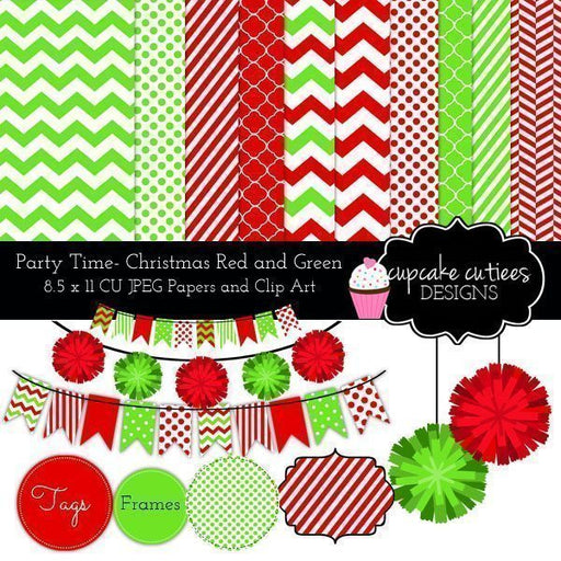 Party Time- Christmas Papers and Clip Art Elements  Cupcake Cutiees    Mygrafico