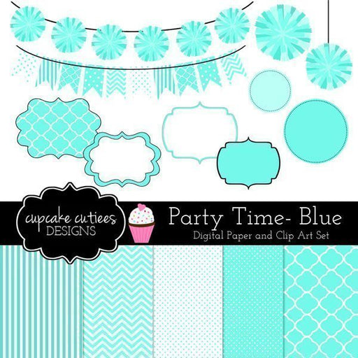 Party Time Blue Digital Clip Art Paper Set  Cupcake Cutiees    Mygrafico