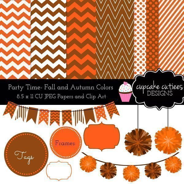 Happy Fall- Digital Paper Clip Art and Papers  Cupcake Cutiees    Mygrafico
