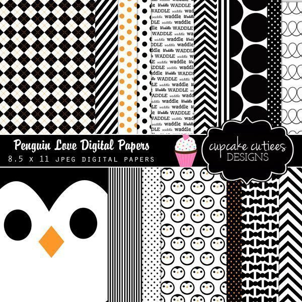 Penguin Love Digital Papers  Cupcake Cutiees    Mygrafico
