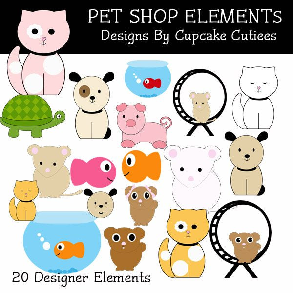 Pet Shop Elements  Cupcake Cutiees    Mygrafico