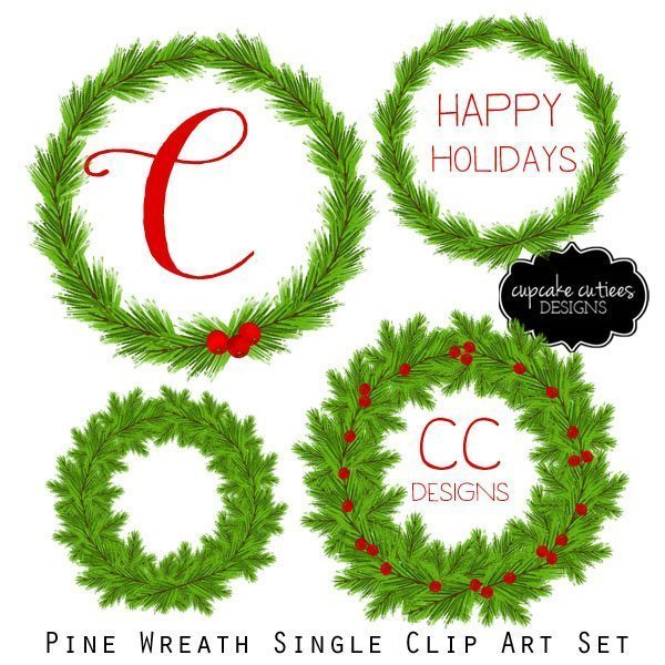 Pine Watercolor Christmas Wreath Branch Clip Art Elements  Cupcake Cutiees    Mygrafico