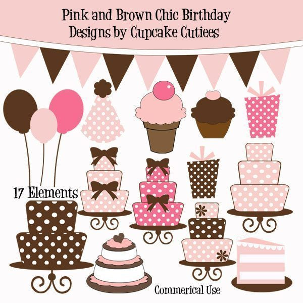 Pink and Brown Chic Birthday  Cupcake Cutiees    Mygrafico