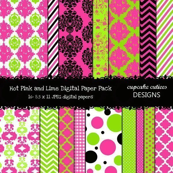 Hot Pink and Lime Papers  Cupcake Cutiees    Mygrafico