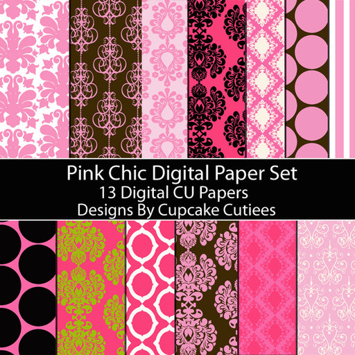 Pink Chic Damask 2 Paper Set Digital Papers & Backgrounds Cupcake Cutiees    Mygrafico