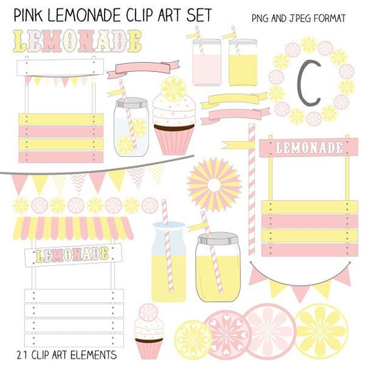 Pink Lemonade Clip Art Elements  Cupcake Cutiees    Mygrafico