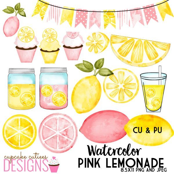 Pink Lemonade Watercolor Digital Clip Art Set clipart Cupcake Cutiees    Mygrafico