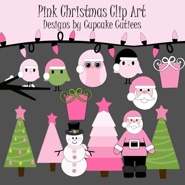 Pink Christmas Elements  Cupcake Cutiees    Mygrafico