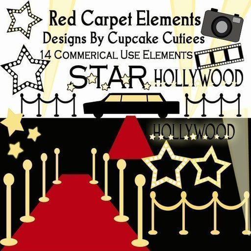Red Carpet Hollywood Elements  Cupcake Cutiees    Mygrafico