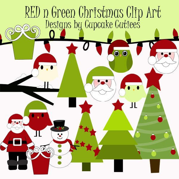 Red Green Christmas Elements  Cupcake Cutiees    Mygrafico