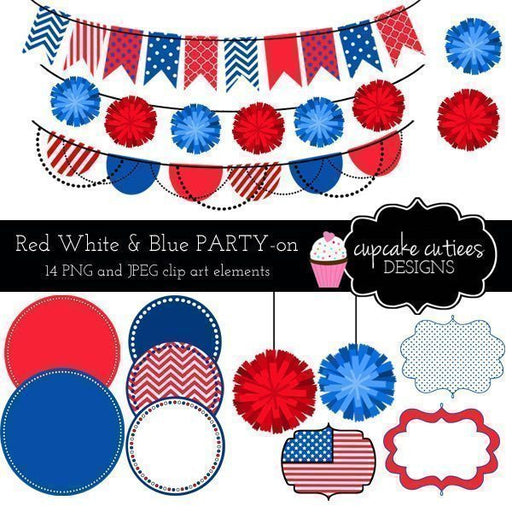 Red White and Blue Party Digital Clip Art  Cupcake Cutiees    Mygrafico