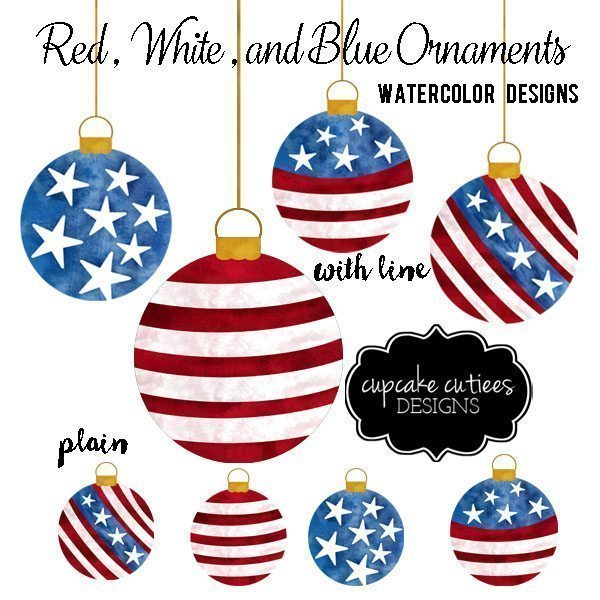 Red White & Blue Watercolor Ornament CLip Art  Cupcake Cutiees    Mygrafico