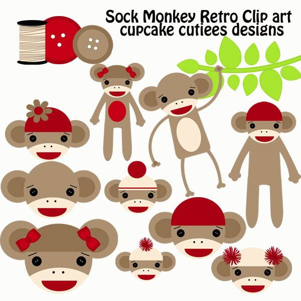 Retro Sock Monkey  Cupcake Cutiees    Mygrafico