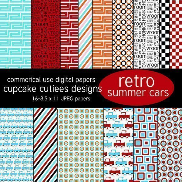 Retro Summer Cars Papers  Cupcake Cutiees    Mygrafico