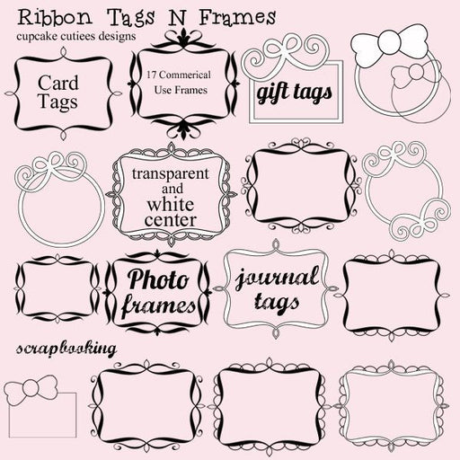 Ribbon Tags and Frames  Cupcake Cutiees    Mygrafico
