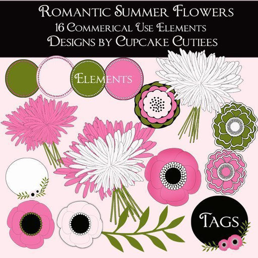 Romantic Summer Flower Elements and Tags  Cupcake Cutiees    Mygrafico