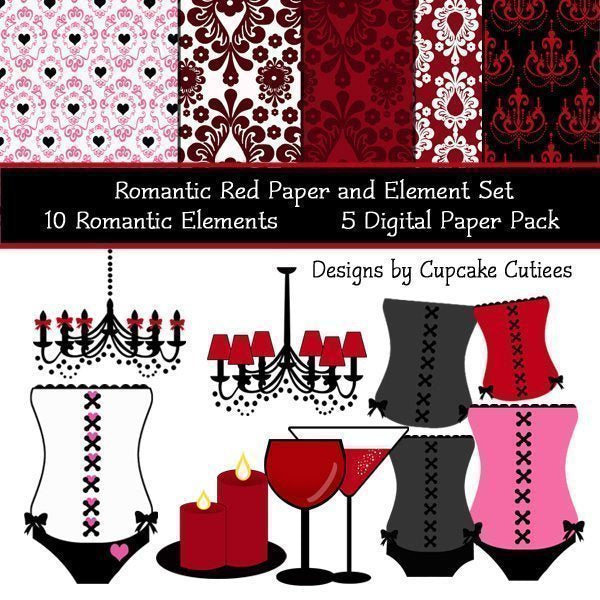 Romantic Red Elements and Papers  Cupcake Cutiees    Mygrafico