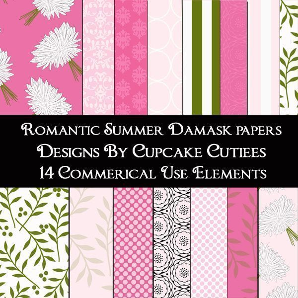 Romantic Summer Damask Paper pack  Cupcake Cutiees    Mygrafico