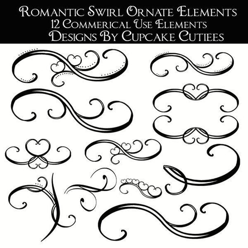 Romantic Vintage Swirl Decor  Cupcake Cutiees    Mygrafico
