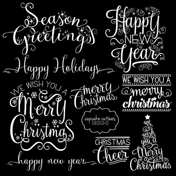 Seasons Greetings Happy New Year Word Overlay Clip Art  Cupcake Cutiees    Mygrafico