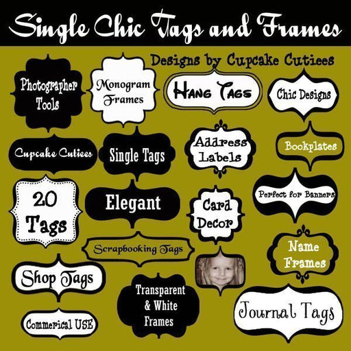 Single Chic Tags and Frames  Cupcake Cutiees    Mygrafico