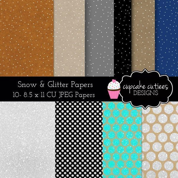 Snow and Sparkle Digital Paper Pack  Cupcake Cutiees    Mygrafico