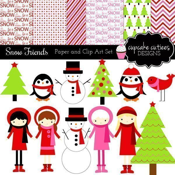 Winter Friends Clip Art Paper Set  Cupcake Cutiees    Mygrafico