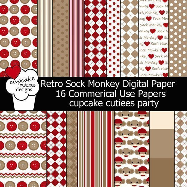 Retro Sock Monkey Papers  Cupcake Cutiees    Mygrafico
