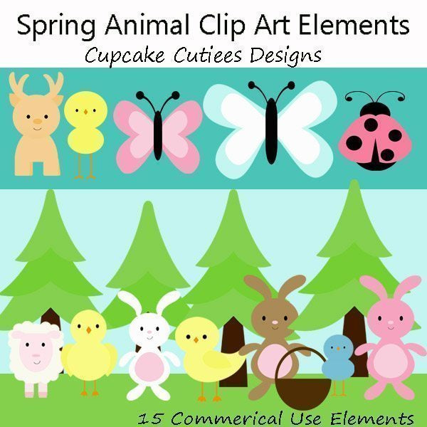 Spring Easter Animals  Cupcake Cutiees    Mygrafico