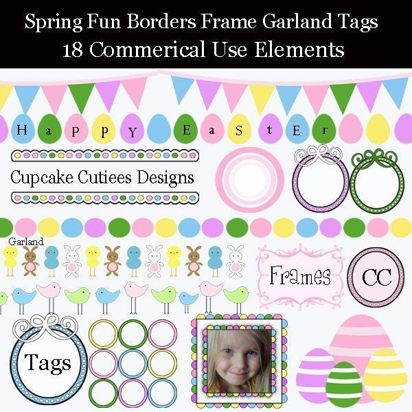 Spring Fun Border Garland and Frames  Cupcake Cutiees    Mygrafico