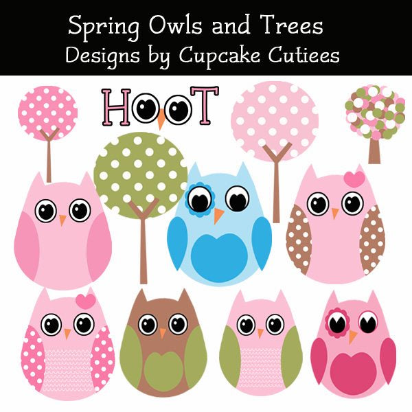 Spring Owls and Trees Elements  Cupcake Cutiees    Mygrafico