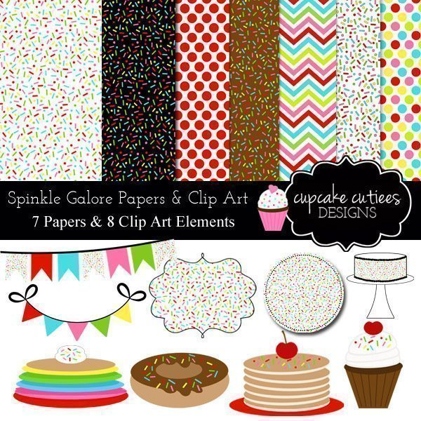 Sprinkle Galore Digital Clip art and Paper Set  Cupcake Cutiees    Mygrafico