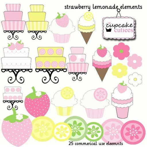 Strawberry Lemonade Elements  Cupcake Cutiees    Mygrafico