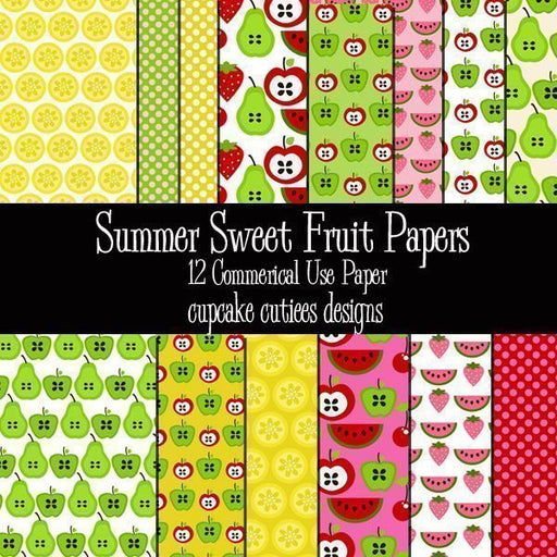 Summer Sweet Fruit Papers  Cupcake Cutiees    Mygrafico