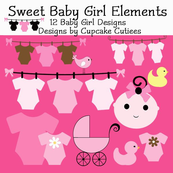 Sweet Baby Girl Elements  Cupcake Cutiees    Mygrafico