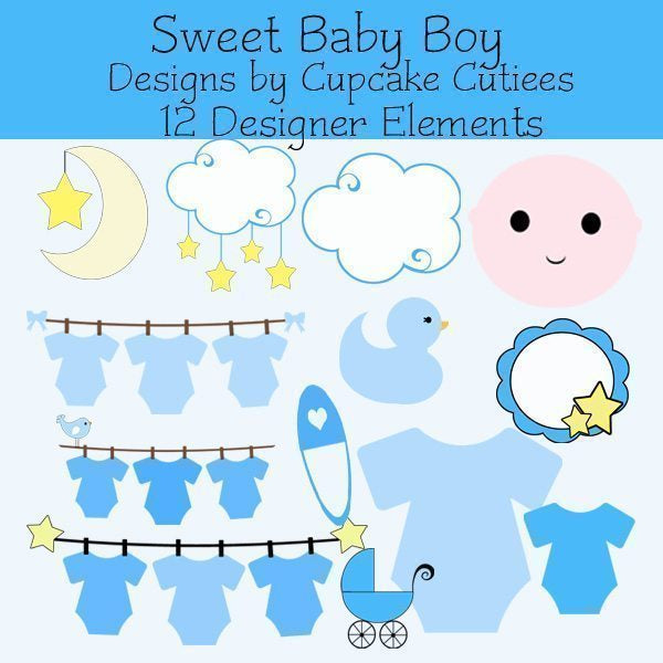 Sweet Baby Boy Elements  Cupcake Cutiees    Mygrafico