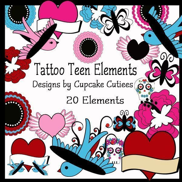 Tattoo Teen Tween Elements  Cupcake Cutiees    Mygrafico