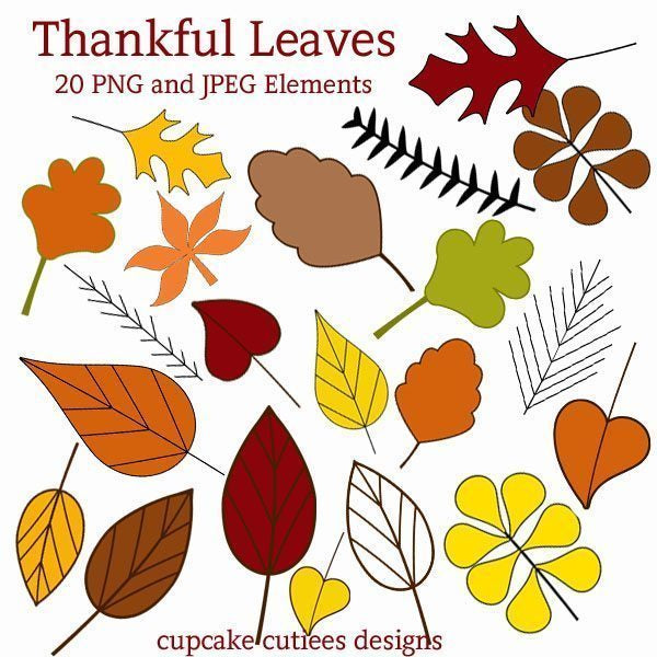 Thankful Leaves Cliparts Cupcake Cutiees    Mygrafico