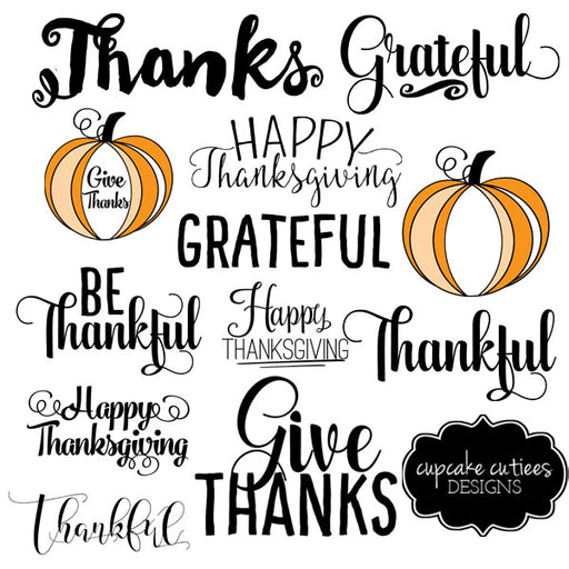 Thanksgiving Word Art- Photographer PNG overlays Clipart Cupcake Cutiees    Mygrafico