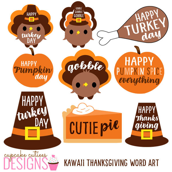 Thanksgiving Word Art- Digital Art Illustration Clip Art Elements Cliparts Cupcake Cutiees    Mygrafico
