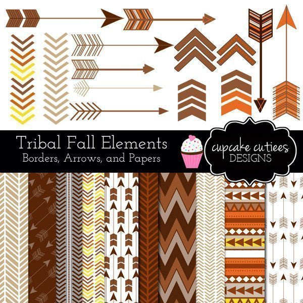 Autumn Fall Tribal Papers and Clip Art Set Digital Papers & Backgrounds, Clipart Cupcake Cutiees    Mygrafico